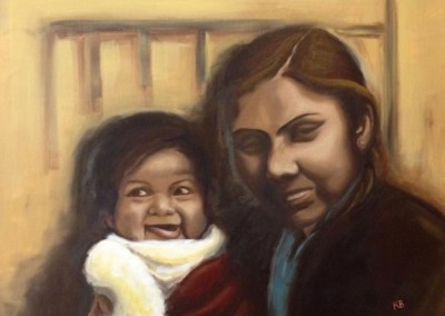 """My Auntie and I (Oils 20""""x16"""")"""