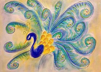 "Peacock (Acrylics 2x9""x12"")"